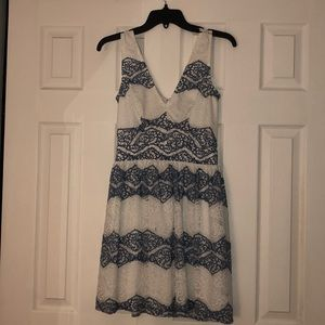 Blue and white lace flowy dress